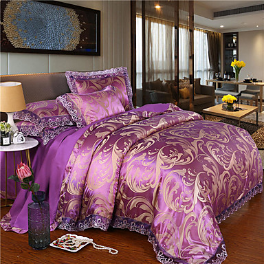 cheap Duvet Covers-European lace Jacquard Cotton Sateen four-piece wedding bedspread spread bedding