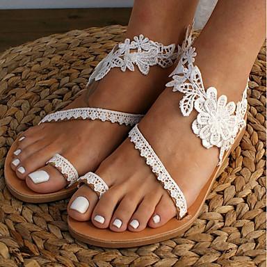 cheap Women's Shoes-Women's Sandals Summer Flat Heel Open Toe Daily Lace / PU White
