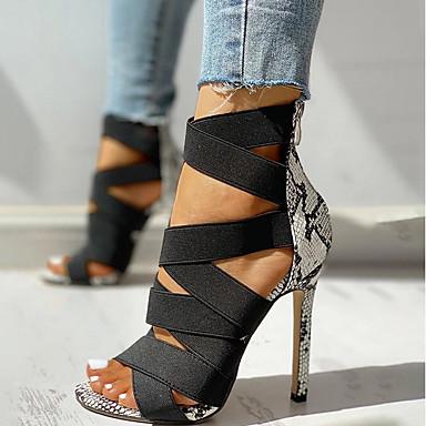 hesapli Kadın Sandaletleri-Kadın's Sandaletler Yılan derisi Ayakkabı Stiletto Topuk Açık Uçlu Günlük Mikrofiber Yaz Siyah / Bej