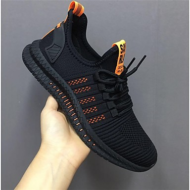cheap Men's Athletic Shoes-Unisex Trainers / Athletic Shoes Casual Daily Running Shoes / Walking Shoes Tissage Volant Breathable Non-slipping Shock Absorbing Black / White / Black / Yellow / Orange / Black Summer / Fall