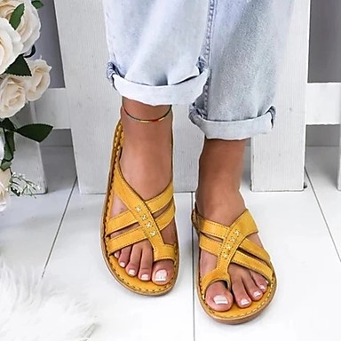 cheap Women's Sandals-Women's Sandals Wedge Sandals Flat Sandals Bunion Sandals Summer Flat Heel Open Toe Daily PU White / Yellow / Brown