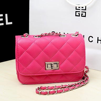 cheap Summer 2020-Women's Chain PU Crossbody Bag Leather Bag Solid Color Watermelon Pink / Black / Yellow