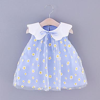billige Babyklær-Baby Jente Grunnleggende Blomstret Trykt mønster Ermeløs Ovenfor knéet Kjole Rosa