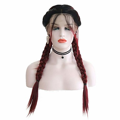 cheap Synthetic Lace Wigs-Synthetic Lace Front Wig Box Braids Middle Part with Baby Hair Lace Front Wig Burgundy Ombre Long Ombre Burgundy Synthetic Hair 18-26 inch Women's Soft Adjustable Party Burgundy Ombre