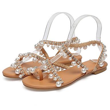 cheap Women's Shoes-Women's Sandals Flat Sandal Summer Flat Heel Round Toe Boho Daily Beach PU Brown