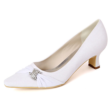 cheap Women's Shoes-Women's Heels / Wedding Shoes Spring / Summer Block Heel Pointed Toe Minimalism Wedding Party & Evening Rhinestone Solid Colored Synthetics White / Light Purple / Champagne