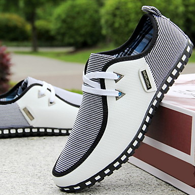 cheap Men's Sneakers-Men's Fall & Winter Casual Daily Sneakers Canvas / PU White / Black / Blue