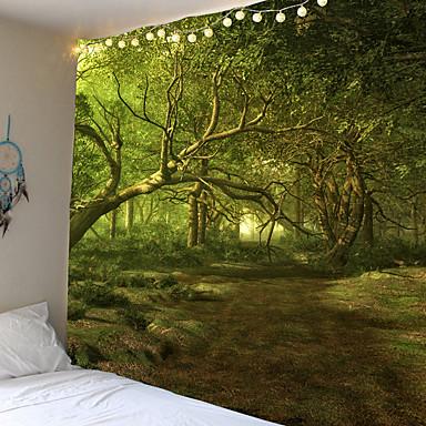 abordables Décoration Murale-tapisserie trippy tenture murale tissu bois hippie tapisserie arbre paysage psychédélique montagne boho décor peintures murales tapisserie murale