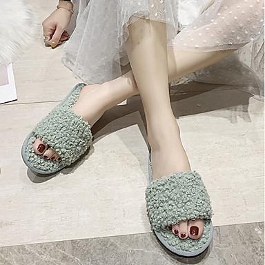 cheap Women's Shoes-Women's Slippers & Flip-Flops Fuzzy Slippers Fall / Winter Flat Heel Open Toe Daily Faux Fur Black / Green / Brown