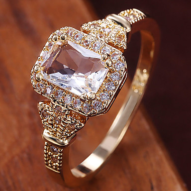 cheap Rings-Women's Ring Belle Ring AAA Cubic Zirconia 1pc Yellow Copper Gold Plated Irregular Statement Luxury Party Evening Gift Jewelry Geometrical Wearable