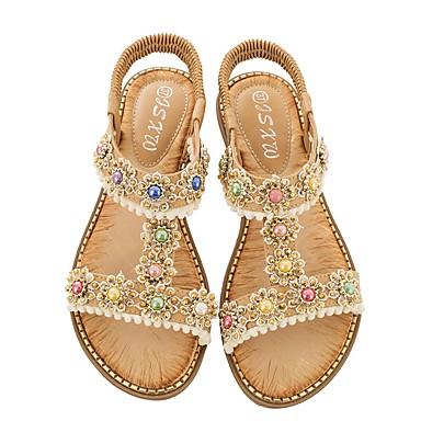 ราคาถูก รองเท้าผู้หญิง-สำหรับผู้หญิง รองเท้าแตะ รองเท้าแบน ฤดูร้อน Block Heel เปิดนิ้ว ทุกวัน PU ขาว / สีดำ / แดง