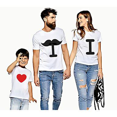 economico Abbigliamento combinato per famiglie-Sguardo di famiglia Attivo Essenziale Pop art Con stampe Manica corta Standard T-shirt Bianco