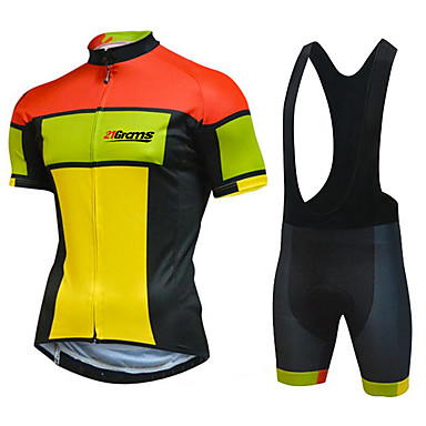 cheap Bike Accessories-21Grams Men's Short Sleeve Cycling Jersey with Bib Shorts Summer White Black Patchwork Bike Clothing Suit UV Resistant 3D Pad Quick Dry Reflective Strips Back Pocket Sports Patchwork Mountain Bike