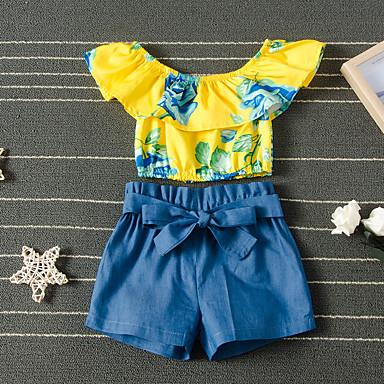 povoljno Kompletići za djevojčice-Djeca Djevojčice Aktivan Vintage Dnevni Nosite Ulica Cvjetni print Print Kratkih rukava Kratka Kratak Komplet odjeće Bijela