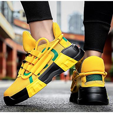 abordables Chaussures de Course Homme-Homme Chaussures d'Athlétisme Simple Quotidien Marche Maille Noir / blanc / Blanc et vert / Noir Printemps été / Automne hiver