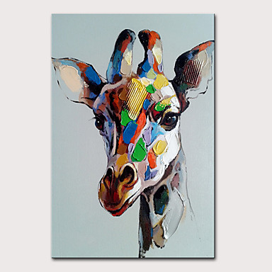 cheap Oil Paintings-Mintura Large Size Hand Painted Giraffe Animal Oil Painting on Canvas Modern Abstract Pop Art Wall Pictures For Home Decoration No Framed