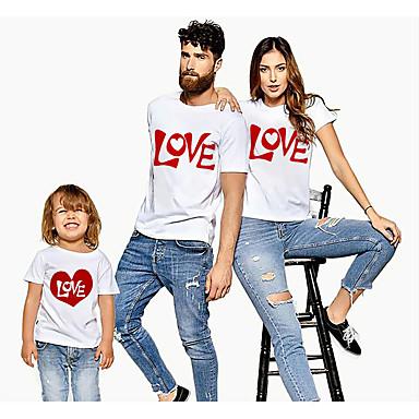 levne Rodinné sady oblečení-Rodinný vzhled Aktivní Základní Grafika Písmeno Tisk Krátký rukáv Standardní Košilky Bílá