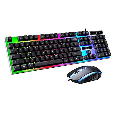 CHENTAOCS Keyboard Rainbow Floating Backlight Mouse and Keyboard Color : Black Gold Wired Light Mouse and Keyboard Set USB Keyboard and Mouse 4 Colors Products