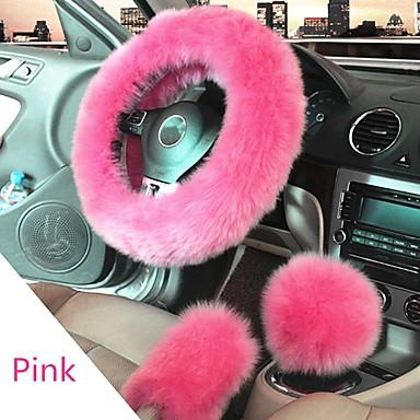 cheap Steering Wheel Covers-Winter Furry Car Steering Wheel  Gear Knob Shifter Parking Brake Covers Set 3Pcs