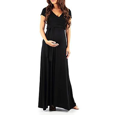 olcso Kismamaruhák-Női A vonalú ruha Maxi ruha - Rövid ujjú Tömör szín Nyár Elegáns 2020 Fekete Rubin S M L XL