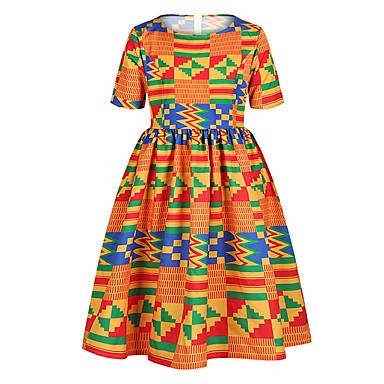 billiga Flickklänningar-Barn Flickor Geometrisk Klänning Blå