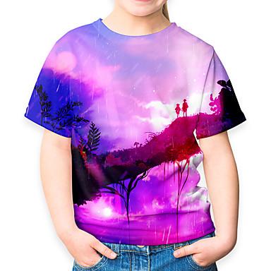 cheap Girls' Clothing-Kids Girls' Active Basic Galaxy 3D Short Sleeve Tee Purple