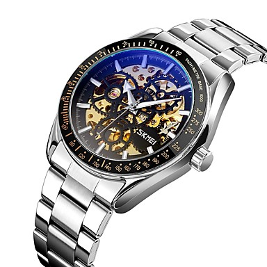 cheap Mechanical Watches-SKMEI Men's Mechanical Watch Automatic self-winding Formal Style Modern Style Stainless Steel Black / Silver / Gold 30 m Hollow Engraving Luminous New Design Analog Fashion Skeleton - Black+Gloden