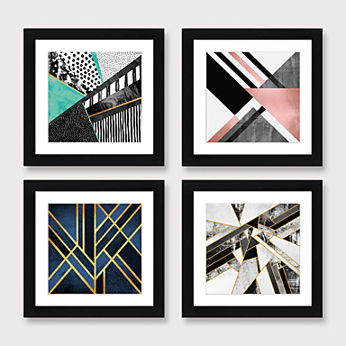 cheap Framed Arts-Framed Art Print Framed Set 4 American Style Pastoral Decorative Painting French Style Dining room Fresco Porch Bedroom Bedside  Abstract  Hanging Pictures
