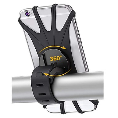 voordelige Autotechnologie-fiets telefoon houder 360 rotatie siliconen fiets telefoon houder universele motorfiets stuurhouder past voor iphone 11 pro max / xr / xs max / 8/7/6 / 6s plus galaxy s20 / s9 4.0-6.0 telefoons