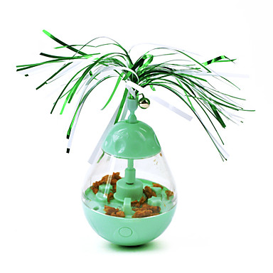 cheap Cat Clothing & Accessories-Ball Feather Toy Bells Slow Feeder & Treat Ball Cat Kitten Pet Toy 1 set Round Pet Friendly Automatic Pet Exercise Plastic Gift