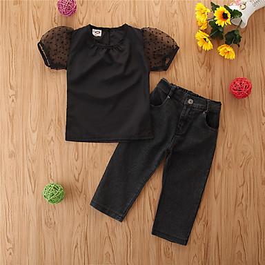 voordelige Meisjeskleding-Peuter Meisjes Standaard Causaal Effen Korte mouw Normaal Normaal Kledingset Zwart