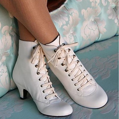 cheap Women's Boots-Women's Boots Winter Pumps Round Toe Daily PU Booties / Ankle Boots White / Black / Brown