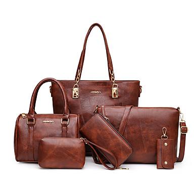 cheap Bag Sets-Women's Zipper / Chain PU Bag Set 2020 Geometric Pattern 6 Pieces Purse Set Black / Red / Green