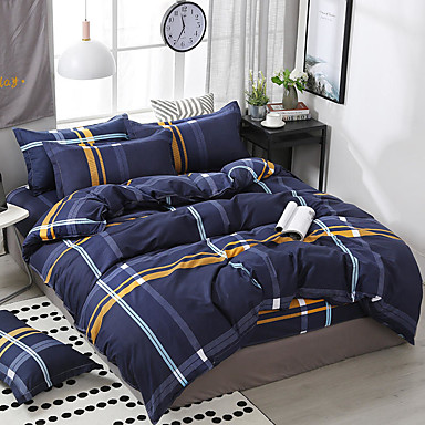 cheap Duvet Covers-Simple style printed pattern bedding four-piece quilt cover bed sheet pillow cover dormitory single double