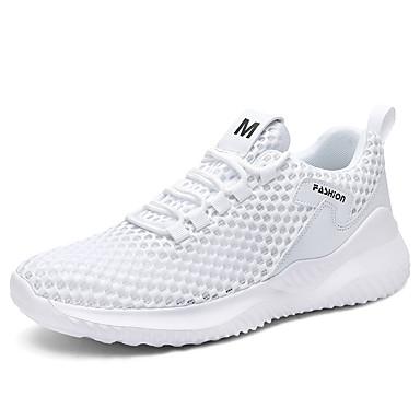 abordables Chaussures de Course Homme-Homme Automne Sportif Athlétique Chaussures d'Athlétisme Course à Pied Maille Ne glisse pas Blanche / Noir / Gris