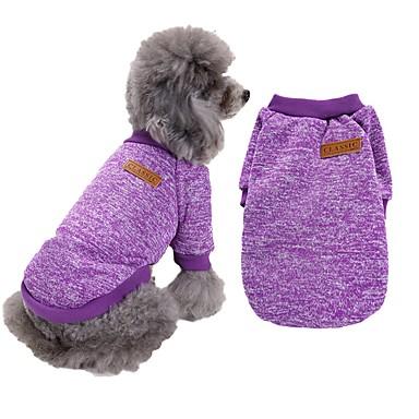 cheap Dog Clothes-Dog Sweater Stripes Winter Dog Clothes Purple Red Dark Purple Costume Woolen XS S M L XL