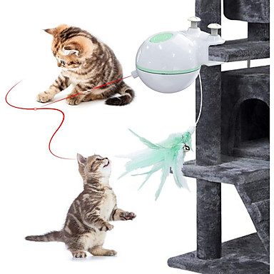 cheap Cat Clothing & Accessories-Ball Laser Toy Feather Toy Interactive Toy Cat Kitten Pet Toy 1 set Round Pet Friendly LED Automatic Pet Exercise ABS+PC Gift