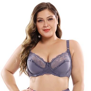 cheap Bras-Women's Lace Bras Underwire Bra Full Coverage Bra White Black Purple
