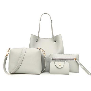 ราคาถูก ของมาใหม่-สำหรับผู้หญิง PU ชุดกระเป๋า สีทึบ ชุดกระเป๋า 4 ชิ้น สีแดงชมพู / ทับทิม / ขาว