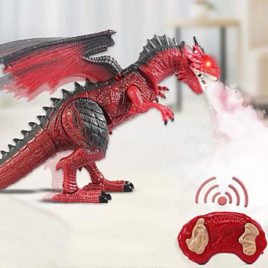 Недорогие Динозавры-Электронные домашние животные Игрушка Динозавр R / C Ходячий Динозавр Пульт управления T-Rex Дыма дыхание с подвижной головой, огнями, ревом пластик Детские Для подростков S1000RR