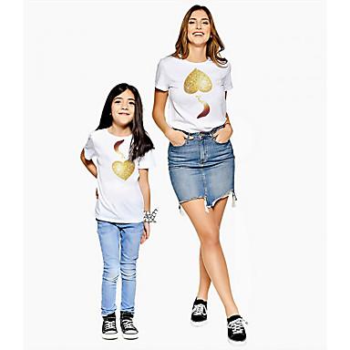 رخيصةأون مجموعات ملابس العائلة-كنزة مطبوعة كم قصير الرسم أمي وأنا