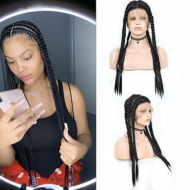 cheap Synthetic Lace Wigs-Synthetic Lace Front Wig Box Braids Plaited Middle Part Braid with Baby Hair Full Lace Wig Long Black#1B Synthetic Hair 18-26 inch Women's Soft Party Women Black