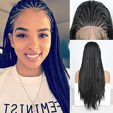 cheap Synthetic Lace Wigs-Synthetic Lace Front Wig Box Braids Plaited with Baby Hair Lace Front Wig Pink Long Black#1B Synthetic Hair 18 24 inch Women's Women Faux Locs Wig Braided Wig Black Pink