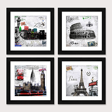 cheap Framed Arts-Framed Art Print Framed Set4 - European And American Style Black And White Architecture  Scenic PS Illustration Wall Art