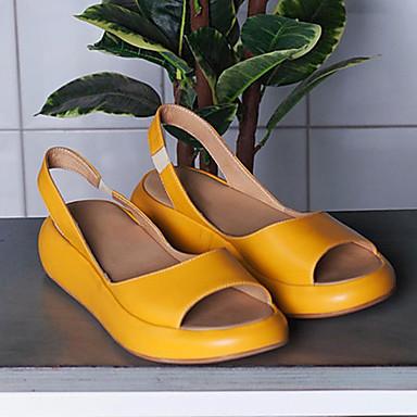 cheap Women's Sandals-Women's Sandals Flat Sandals 2020 Flat Heel Open Toe Sweet Minimalism Daily Outdoor PU White / Yellow / Blue
