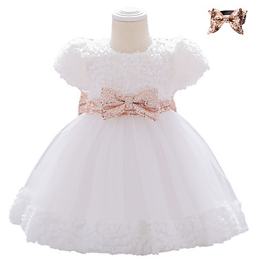 cheap Clearance-Baby Girls' Basic Butterfly Solid Colored Bow Mesh Short Sleeve Knee-length Dress White