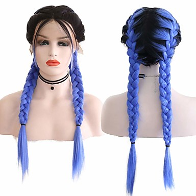 cheap Synthetic Lace Wigs-Synthetic Lace Front Wig Box Braids Middle Part with Baby Hair Lace Front Wig Ombre Long Ombre Blue Synthetic Hair 18-26 inch Women's Soft Adjustable Party Blue Ombre