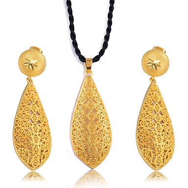 hesapli Takı Seti-Kadın's Takı Seti Klasik Püskül moda Etniczne Moda Altın Kaplama Küpeler Mücevher Altın Uyumluluk Noel Düğün Hediye Cadde Festival 1set