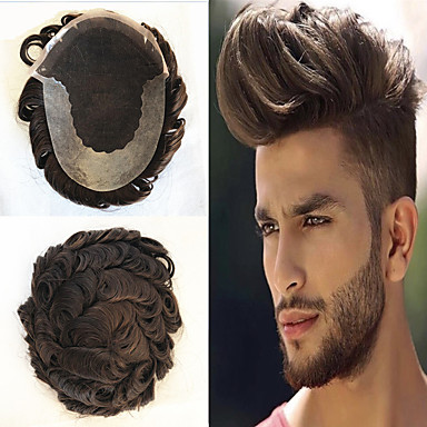 cheap Beauty & Hair-Men's Human Hair Toupees Wavy Glueless Lace Front Best Quality / New / Hot Sale / Natural Hairline
