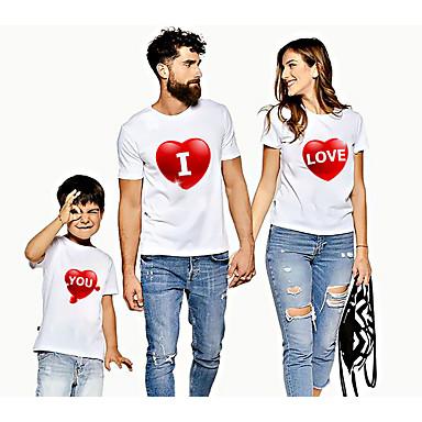 levne Rodinné sady oblečení-Rodinný vzhled Aktivní Základní Grafika Tisk Krátký rukáv Standardní Košilky Duhová